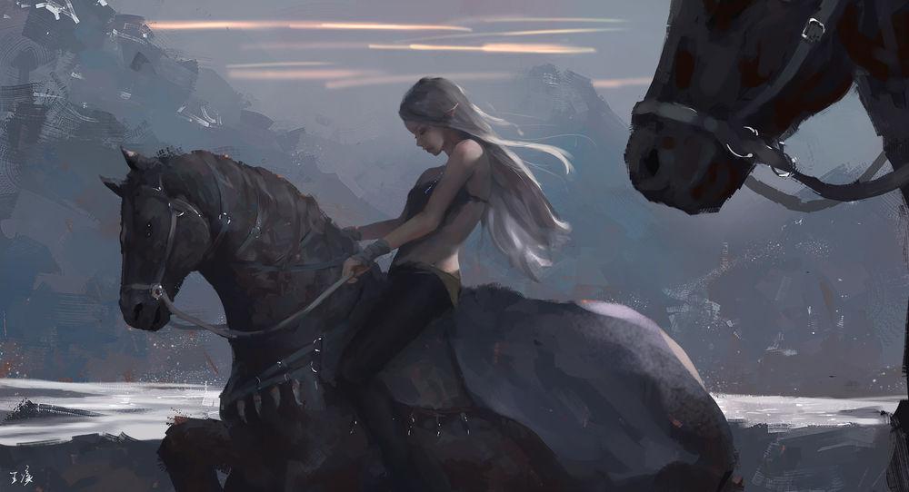 Обои для рабочего стола Эльфийка верхом на лошади, art by wlop