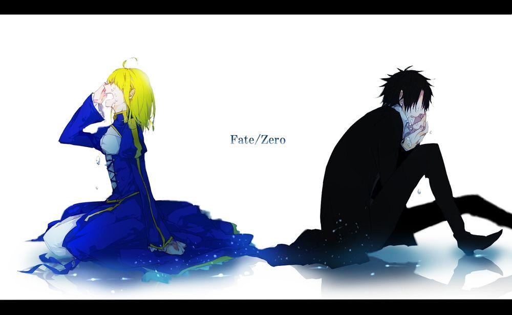 Обои для рабочего стола Saber / Сейбер и Emiya Kiritsugu / Эмия Киритсугу плачут из аниме Fate / zero / Судьба:начало