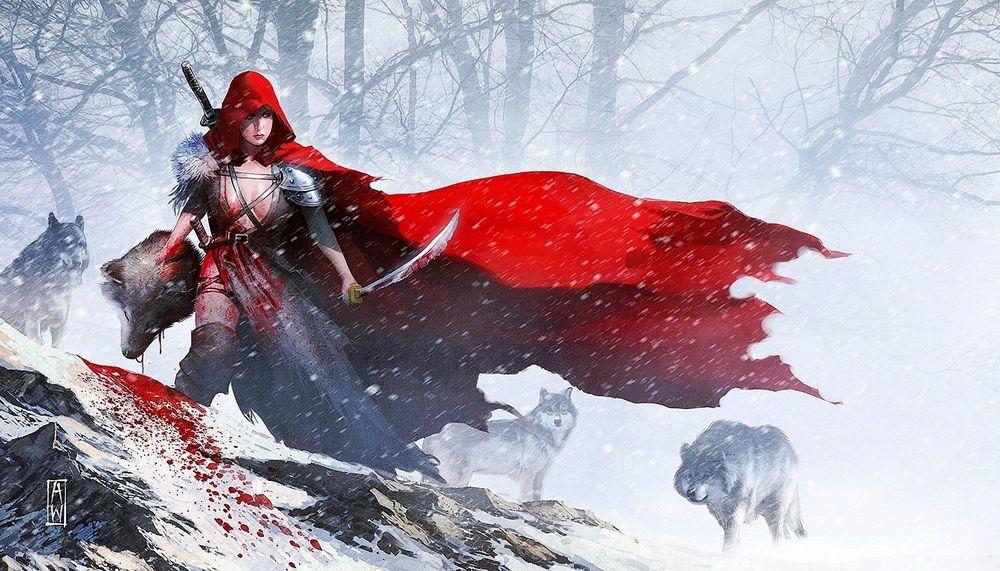 Обои для рабочего стола Девушка в красном плаще держит саблю в одной руке и голову волка в другой, позади настороженно смотрит стая волков