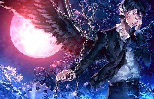 Обои Парень с черными крыльями, автор Sunakumo