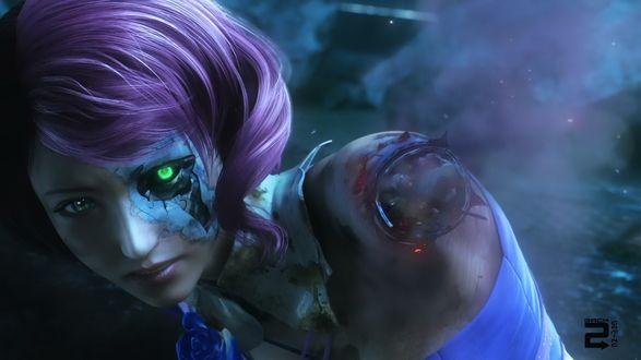 Обои Девушка киборг Алиса Босконович из аниме и игры Теккен: Кровная месть / Tekken: Blood Vengeance