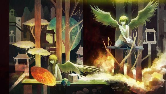 Обои Две девочки-ангелы сидят на деревьях, на которых расположены маленькие домики, арт от Hanyijie