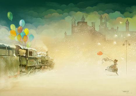 Обои Девушка с красным шариком в руках убегает от поезда, грустный мишка, держа разноцветные шарики, провожает ее взглядом, арт от Hanyijie