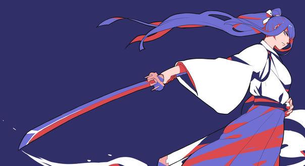 Обои Кирюин Сатсуки / Kiryuin Satsuki из аниме Круши Кромсай / Kill la Kill с катаной в руках