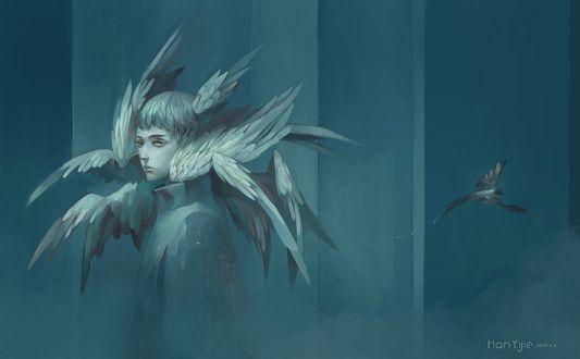 Обои Беловолосый парень с множеством крыльев, от которого улетает птица, арт от Hanyijie