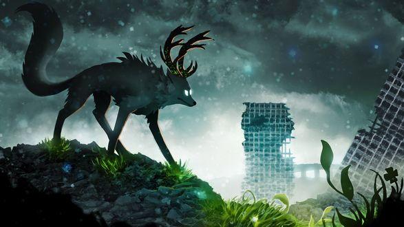 Обои Мутировавший волк с оленьими рогами на фоне разрушенного города, веб-комикс Романтика Апокалипсиса / Romantically Apocalypticа