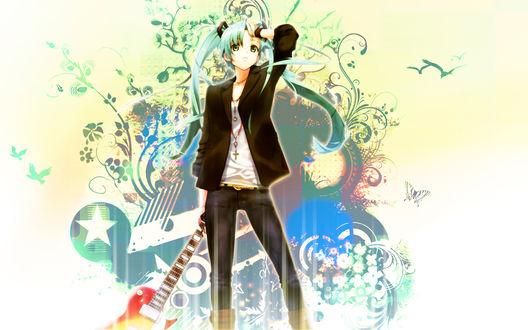 Обои Вокалоид Мику Хатцуне / Miku Hatsune с гитарой