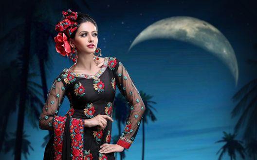 Обои Индийская актриса Аамна Шарифф / Aamna Sharif на фоне месяца