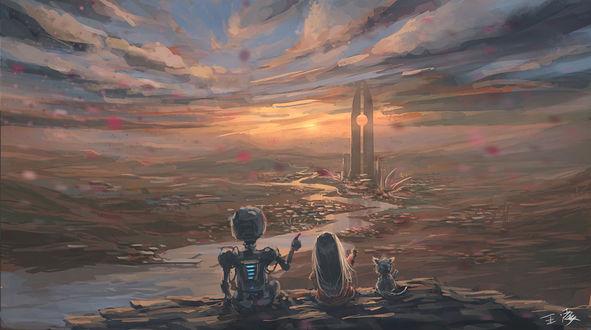 Обои Девочка, робот и котенок любуются закатом, art by wlop
