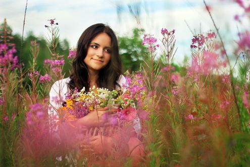 Фото девушка в полевых цветах