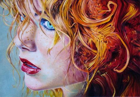 Обои Девушка с рыжими волосами и голубыми глазами, ву Włodzimierz Kukliński