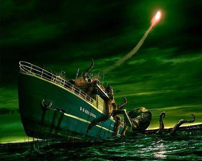 Обои Осьминог обвил корабль, арт by Korogan