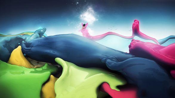 Обои Фея в мире красок, Art by Magyar Laszlo