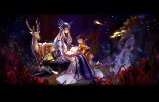 Обои Девушка-эльф читает книгу двум девочкам-эльфам, рядом стоит олень, арт по игре Dragon Nest