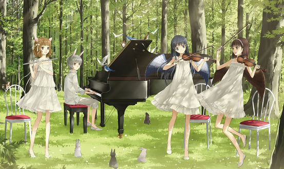 Обои Парень и три девушки играют на музыкальных инструментах на лесной поляне