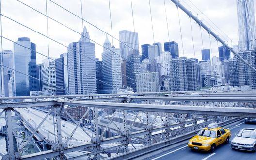 Обои Вид на зимний Нью-Йорк со стороны Бруклинского моста / Brooklyn Bridge, New York