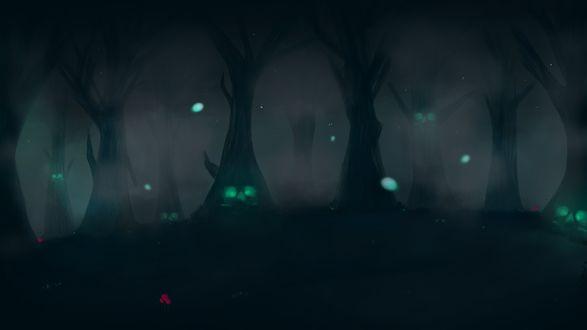Обои Темный лес с зелеными лицами на деревьях