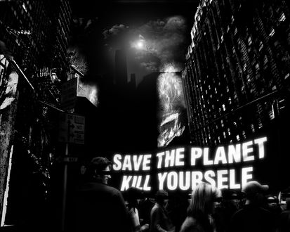 Обои Толпа людей в городе (Save the planet Kill yourself / Спаси планету - убей себя)