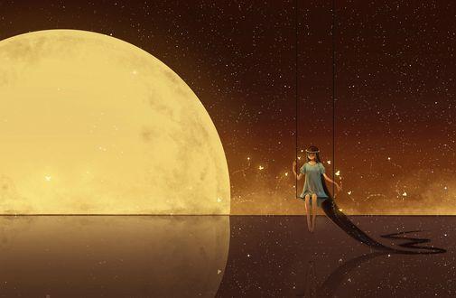 Обои Девушка с длинными волосами и венком на голове сидит на качели в окружении бабочек на фоне луны, арт от Hanyijie