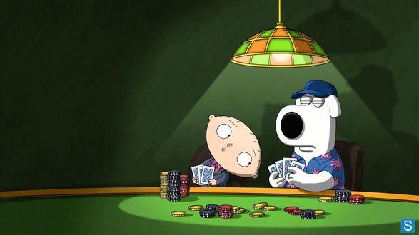 Обои Стьюи Гриффин / Stewie Griffin и Брайан Гриффин / Brian Griffin из мультфильма Гриффины / Family Guy играют в карты и мухлюют