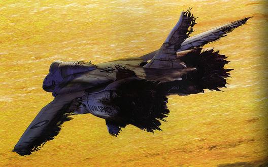 Обои Разбитый, ржавый самолет летит над пустыней, арт к аниме и игре Макросс / Macross