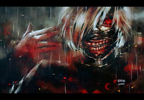 Обои Ken Kaneki / Кэн Канэки из аниме Tokyo Ghoul / Токийский Гуль, art by NanFe