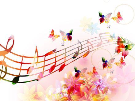 Обои Абстрактный рисунок, на котором изображен нотный стан, скрипичный ключ, ноты, бабочки и цветы