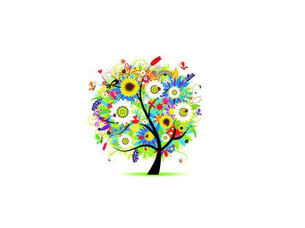 Обои Абстрактное дерево из цветов на белом фоне