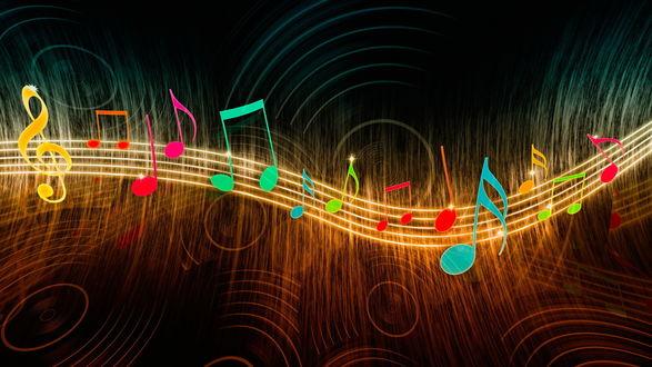 Обои Разноцветные ноты на темном фоне