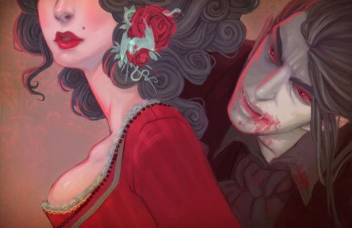 Обои Парень-вампир кусает девушку в шею
