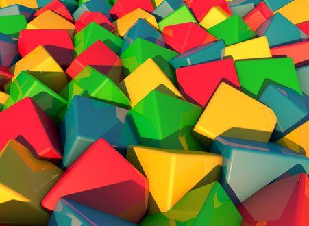 Обои Разноцветные кубики лежат в хаотичном порядке