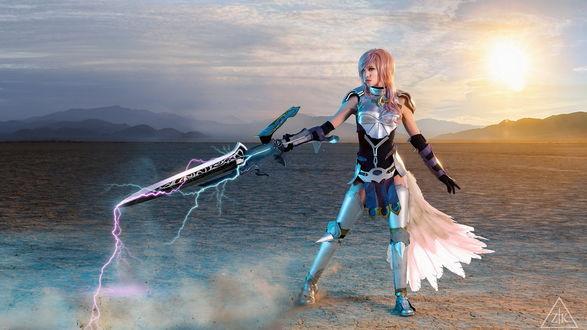 Обои Косплей на героиню игры Final Fantasy XIII - Лайтнинг / Lightning