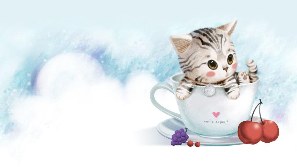 Кот в кружке фото