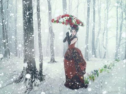 Обои Темноволосая девушка в легком платье, стоящая на опушке под падающими снегом, держащая в руках зонтик, усыпанный цветами, автор Маргарита Карева