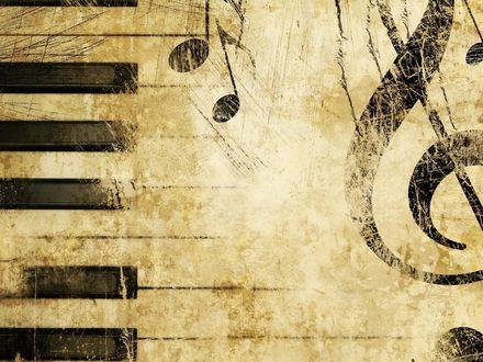 Обои Абстрактный рисунок фортепианных клавиш и скрипичного ключа