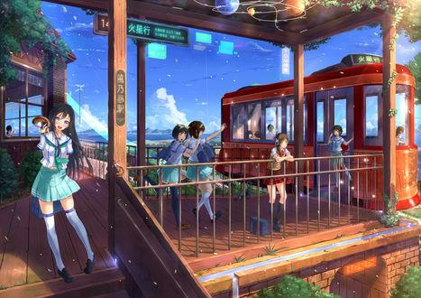 Обои Девушки спешат на трамвай, art by Kazeno