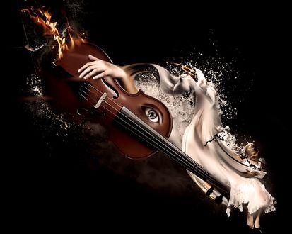 Обои Девочка с книгой, переходящей в голубей и рука, обнимающая горящую скрипку с глазом