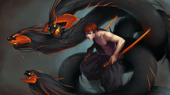Обои Парень с огненными мечами и трехглавый змей