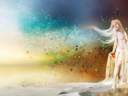 Обои Рисунок, на котором изображена девушка с рогами, вокруг которой кружатся осенние листья и снежинки