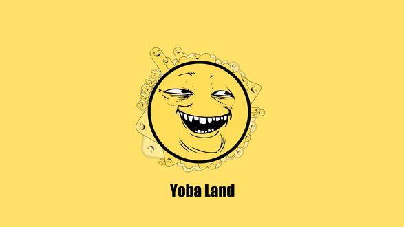 Обои Круглый желтый смайлик с надписью Yoba Land