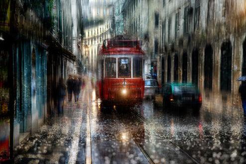 Обои Трамвай, идущий по дождливым городским улицам, автор Эдуард Гордеев