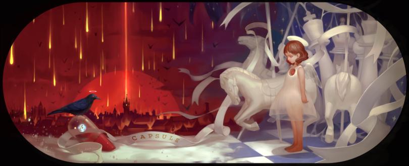 Обои Девочка-ангел стоит напротив капсулы, на которой сидит ворон, идет огненный дождь (capsule)