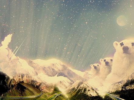 Обои Белые медведи и вершины гор, реклама Кока - Колы