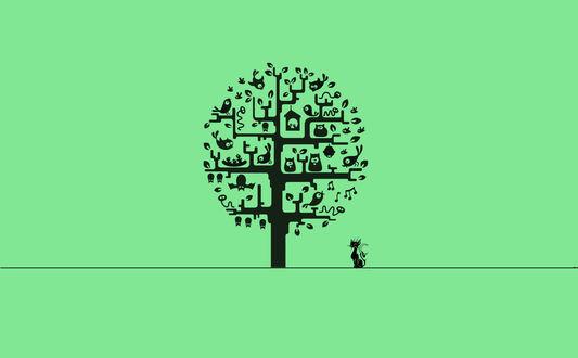 Обои Кошка сидит под деревом, на котором сидят птицы, висит скворечник и летучие мыши