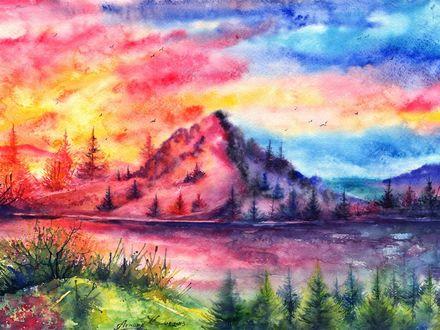 Обои Пейзаж, нарисованный акварелью