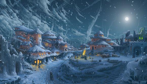 Обои Деревушка заметенная снегом и осещаемая яркой луной, в домах горит свет и люди разжигают огонь на улице, by Markus Harma