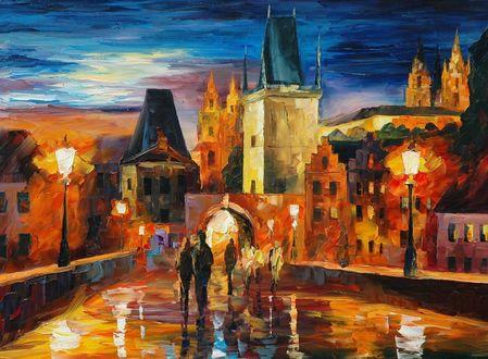 Обои Картина Ночь в Праге, Чехия / Prague, Czech Republic, художник Леонид Афремов