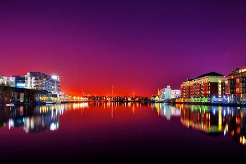 Обои Ночной город Дублин, Ирландия / Dublin, Ireland