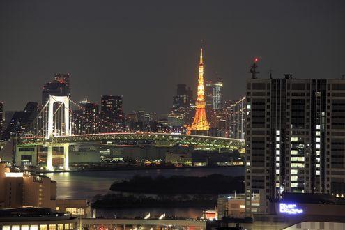 Обои Ночной город, токийская телебашня, Токио / Tokyo, Япония / Japan