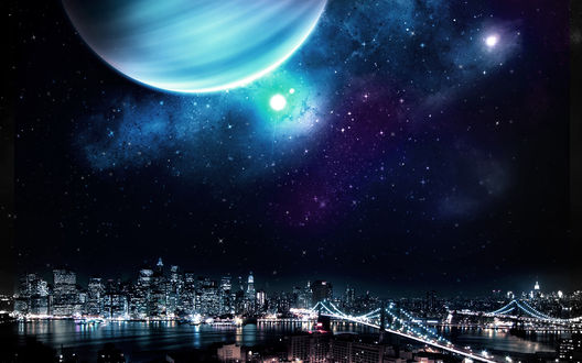Обои Звездное небо и большая планета над ночным городом Нью-Йорк, США / New York, USA